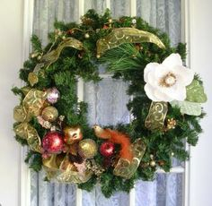 Christmas Wreath -  Distressed Gold Decorations by BernoullisAttic for $65.00