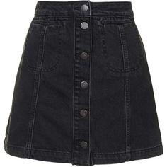 TopShop Petite Moto Black Button Front Skirt (28.720 CLP) ❤ liked on Polyvore featuring skirts, bottoms, faldas, black, petite a line skirt, high waisted a line skirt, high-waisted skirts, button front skirt and high-waist skirt