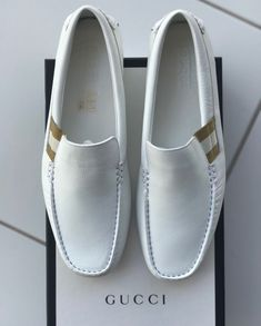 Gucci Mens White Driver Loafer Leather Slip On Shoes Size 10 - Mens Gucci - Ideas of Mens Gucci - Gucci Mens White Driver Loafer Leather Slip On Shoes Size 10 Gucci Mens Sneakers, Sneakers Fashion, Fashion Shoes, Mens Fashion, Mens White Loafers, Loafers Men, Gucci Loafers, Penny Loafers, White Dress Shoes