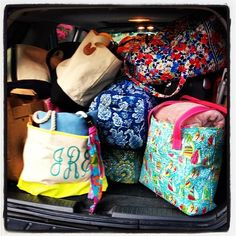 This is how the back of my car looks when we go on vacation, and it's all mine and mom's.