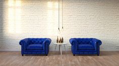 blue classic armchair in modern loft living room with white brick wall ,3D render