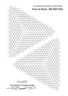 Flat peyote stitch seed bead triangle graph paper for design. Graph paper to print. Peyote Triangle, Triangle 3d, Beading Techniques, Beading Tutorials, Video Tutorials, Peyote Stitch Patterns, Peyote Beading Patterns, Diy Accessoires, Beaded Crafts