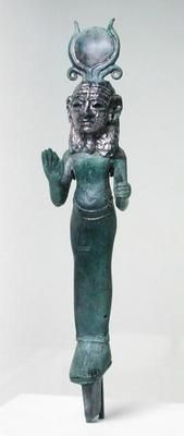Statuette of a Phoenician goddess, from the Phoenician coast, c.700-600 BC (bronze & silver)   Louvre Museum