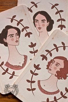 Downton Abbey / Crawley Sisters - A6 (Brown / Pink) Edwardian Folk Woodland Illustration (Vintage Cards) via Etsy.