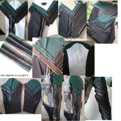 part 2 of lokis sleeves wip's , i tried to make it step by step ,the last 3 pics show me wearing the sleeves,right now to wear the sleeves they need to be pinned together ,i havnt sewn them,thats w...