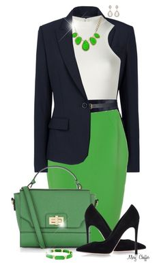 """Summer To Fall - Blue & Green"" by mcheffer ❤ liked on Polyvore featuring Theory, Versace, French Connection, Maison Boinet, Accessorize, Gianvito Rossi, Forever New, Carissima Bijoux, WorkWear and blazer"