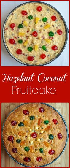 Hazelnut Coconut Fruitcake – revive an old Christmas tradition. Hazelnut Coconut Fruitcake – This no spice fruitcake recipe began as a baking cupboard cleanup project and ended up becoming a new, delicious Christmas baking tradition in the making. Rock Recipes, Cake Recipes, Dessert Recipes, Frosting Recipes, Dessert Ideas, Dinner Recipes, Christmas Desserts, Christmas Baking, Christmas Cakes