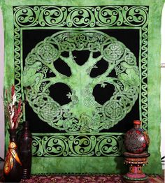 Celtic Tree of Life Tapestry Bedspread Irish Tree of by Labhanshi