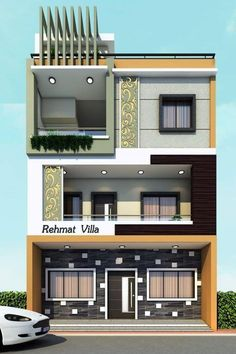 House front design indian small Ideas for 2019 House Balcony Design, House Outer Design, 3 Storey House Design, Duplex House Design, House Front Design, Small House Design, Independent House, Modern Exterior House Designs, Modern House Design