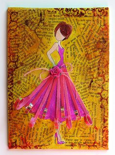 Mixed media doll stamp rose jaune 1 by marieetmichael, via Flickr