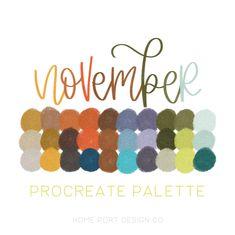 NOVEMBER Procreate color swatch file procreate color palette   Etsy Scheme Color, Color Palate, Color Schemes, Indie Girl, Autumn Art, Etsy App, Custom Art, Printable Wall Art, Note Cards