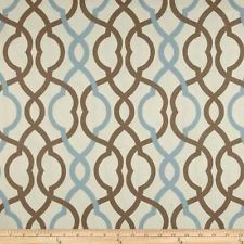 Waverly Spa Colors Blue and Brown Print Valance Curtain Custom Made
