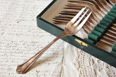 Vintage French dessert forks, silver plate, cake forks, boxed set, set of 12 forks, classic cake forks,  French flatware,  Downton Abbey