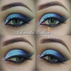 maquaigem azul degradê esfumado, olho verde,