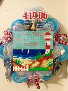 Anniversary gift, deco mesh wreath, perler beads, lighthouse nautical anchor