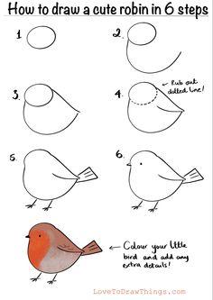 Cute Easy Drawings, Art Drawings For Kids, Bird Drawings, Doodle Drawings, Art Drawings Sketches, Art For Kids, Easy Christmas Drawings, Christmas Art, Drawing Lessons