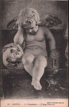 Vintage Postcard ~ Angel & Skull, via Flickr.