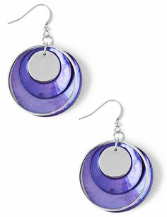 Make an impact this season with our fresh earrings. Curved shell discs layer together and feature a thin open hoop and one sleek metallic circle in the middle. French wires. Customized in size and scale for the plus size woman. For your comfort, all Catherines jewelry is free of lead and nickel. catherines.com