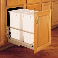 Buy the Rev-A-Shelf White Direct. Shop for the Rev-A-Shelf White 5349 Series Bottom Mount Double Bin Trash Can with Soft Close Slides - 35 Quart Capacity per Bin and save. Kitchen Organization, Kitchen Storage, Organization Ideas, Kitchen Organizers, Diy Storage, Trash Can Cabinet, Waste Container, Rev A Shelf, Diy Cutting Board