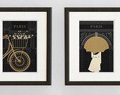 Art Deco Paris Illustration Collection, Fine Art Prints, Black and Gold Paris Prints, Paris Wall Art, Francophile