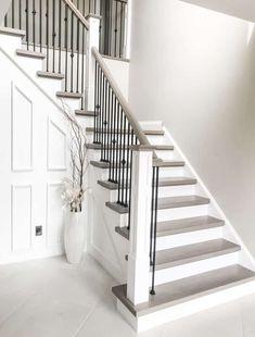 House Staircase, Staircase Remodel, Staircase Railings, Modern Staircase, Stained Staircase, Painted Staircases, White Staircase, Staircase Ideas, Banisters