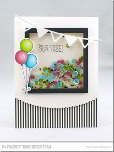 Beary Special Birthday Stamp Set and Die-namics, Single Stitch Line Square Frames Die-namics, Party Banners Die-namics, Stitched Scallop Basic Edges Die-namics - Barbara Anders  #mftstamps