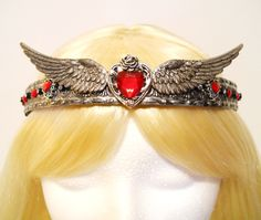 Heart Crown Silver Tiara with Wings Queen Princess Game of Thrones Queen of Hearts Costume Steampunk  Reign Royal Valentines Day (90.00 USD) by MyFairyJewelry