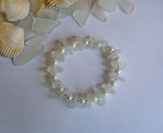 White sea glass bracelet. Pearls beach by EgyptianInspirations, $39.99