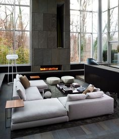 Gas fire place, monochrome grey interior