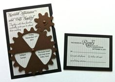 Inventive animated gear wedding invitations for the steampunk lover - the gears actually rotate to give wedding date details