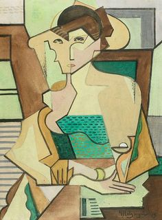 "lawrenceleemagnuson: ""Jean Metzinger (France Seated Woman gouache with black Conté crayon on cream wove paper 38 x cm The Art Institute of Chicago, USA "" Pablo Picasso, Picasso And Braque, Georges Braque, Rene Magritte, Figure Painting, Painting & Drawing, Francis Picabia, Cubism Art, Art Institute Of Chicago"