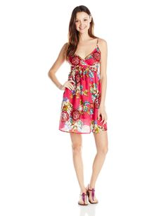 She's Cool Junior's Cotton Dress, Fuchsia, Large at Amazon Women's Clothing store: