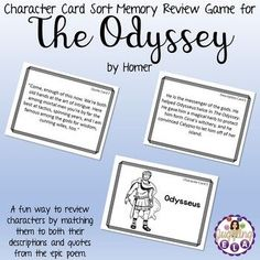 Do your students mix up the characters every time you read a work of literature? Playing a character card sort memory review game will not only help them remember the characters, but it is also a fun and engaging activity.   There are 3 types of cards: Character Cards, Description Cards and Quote Cards. Students needs to match each character with his/her description and a quote that he/she said.