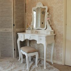 Rose Range - Ivory Dressing Table and Mirror & stool, vintage style ivory cream vanity set with rose handles