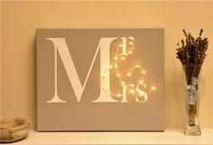 Mr & Mrs illuminated canvas