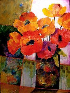 Orange Dream   12053 by Carol Nelson mixed media ~ 24 x 18