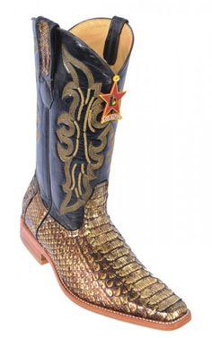 Los Altos Gold Genuine All-Over Python Square Toe Cowboy Boots 715744