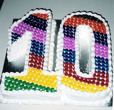 Smartie Rainbow Simple cake design with colourful rainbow pattern of Smarties! Terrific for a 10 year old. 10th Birthday Cakes For Boys, 10 Birthday Cake, 10th Birthday Parties, Birthday Cake Decorating, Birthday Fun, Birthday Ideas, Barbie Birthday, Decorating Cakes, Husband Birthday
