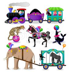 circus characters and animals royalty-free stock vector art