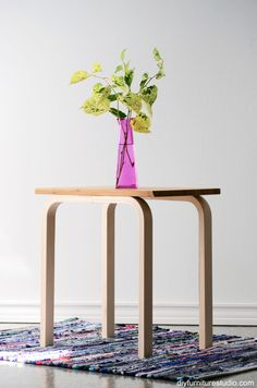 DIY side table project ikea hack. Frosta stool legs and Aptitlig chopping board table top.