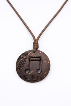 "Music note Pendant ""Trip - Hop"" from Coconut Shell  art pendant hand carved brown pendant unisex music pendant music jewelry music love - $20.00 USD"