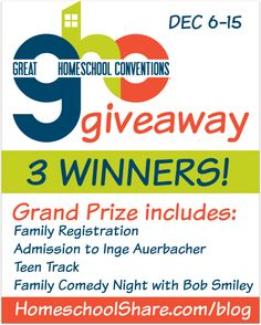 Win one of 3 Family Registrations to Great @HSConvention from @HomeschoolShare #homeschool #HSConvention