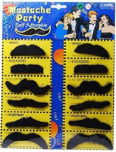 Self Adhesive Set 12 Fake Mustaches Costume Party Disguise by Jacobson Hat Company, http://www.amazon.com/dp/B001GBLMIG/ref=cm_sw_r_pi_dp_PK9Orb1F77T1P