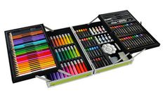 133 Deluxe Art Set in Aluminum Case Let's start at the outside and work inwards. The outer shell is a sturdy, glossy, case. Drawing Letters, Art Case, Pen And Watercolor, Green Art, Paint Set, Acrylic Colors, Best Artist, Art Studios, Creative Art