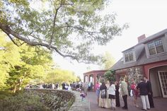 """View of the cockail patio area behind the Moraine Farm Estate for a rustic and outdoor wedding... this venue almost has a """"Secret Garden"""" feel... love this spot, and it's close to Boston!  #morainefarm #rusticbostonwedding"""