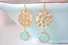 Gold Earrings Tiffany Blue Earrings Tiffany Blue by AvaHopeDesigns, $30.00 #jewelry #earrings #gold