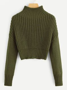 To find out about the Mock-neck Drop Shoulder Crop Jumper at SHEIN, part of our latest Sweaters ready to shop online today! Girls Fashion Clothes, Teen Fashion Outfits, Grey Fashion, Winter Fashion, Casual Outfits, Cute Outfits, Crop Pullover, Cropped Sweater, Pull Court