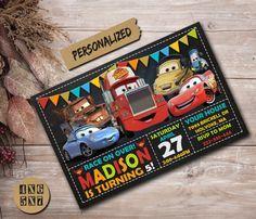 Pixar Cars Birthday, Cars Birthday Parties, 4th Birthday, Birthday Celebration, Cars Birthday Invitations, Disney Cars Party, Birthday Backdrop, Lightening Mcqueen, Threenager