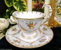 RARE DRESDEN THIEME BIRD HANDLE TEA CUP AND SAUCER HANDPAINTED FLORAL TEACUP