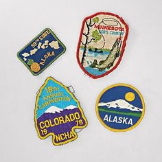 vintage patches - I want to glue these on a kitschy lamp shade in my sons' room.